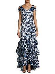 Kay Unger Cold Shoulder Asymmetric Gown Blue Multicolor