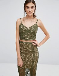 New Look Premium Lace Bralet Khaki Green