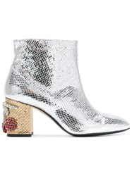 N 21 No21 Embellished Heel Ankle Boots Women Calf Leather Leather 40 Metallic
