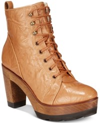 Kelsi Dagger Brooklyn Farren Block Heel Lace Up Platform Boots Women's Shoes Tan