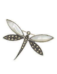 Lord And Taylor Sterling Silver And Marcasite Dragonfly Pin
