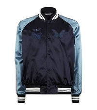 Valentino Butterfly Satin Bomber Jacket Male Blue