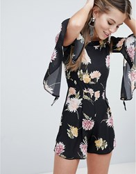 a1d6a68964d Oh My Love Floaty Off The Shoulder Printed Playsuit Black Floral