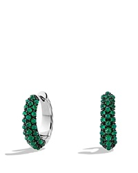 David Yurman Hoop Earrings With Green Onyx