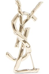 Saint Laurent Gold Tone Brooch One Size