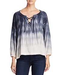 Side Stitch Lace Up Tie Dye Blouse Charcoal