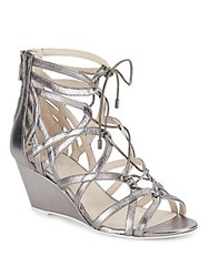Kenneth Cole Dylan Metallic Leather Lace Up Wedge Sandals Anthracite