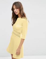 Asos Lace Insert Skater Dress Soft Yellow