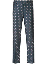 Paul And Joe Floral Print Cropped Trousers Blue