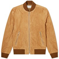 Officine Generale Todd Suede Bomber Jacket Brown