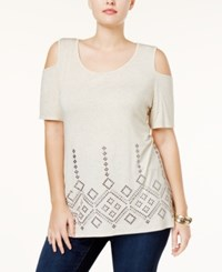 Belldini Plus Size Cold Shoulder Studded Tunic Heather Oatmeal Pewter