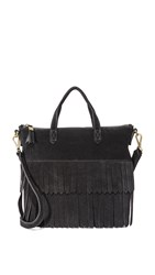 Madewell Suede Mini Fringe Transport Tote True Black