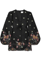Alice Mccall Honeycomb Daisy Embroidered Cotton And Silk Blend Mini Dress Black