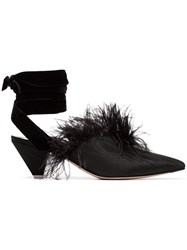 Attico Black Feather Embellished 45 Velvet And Satin Mules