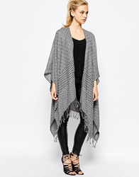 Oasis Aztec Fringed Wrap Blackwhite