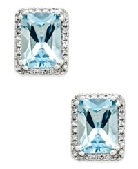 Macy's Aquamarine 1 1 2 Ct. T.W. And Diamond 1 6 Ct. T.W. Halo Stud Earrings In 14K White Gold Blue