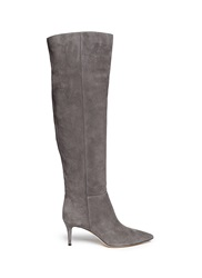 Gianvito Rossi Knee High Suede Stiletto Boots Grey