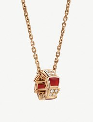 Bulgari Serpenti Viper 18Kt Rose Gold Carnelian Crystal And Diamond Necklace