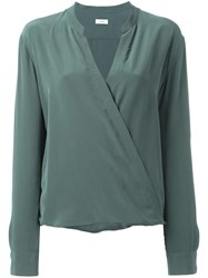 Closed Wrap Style Blouse Green