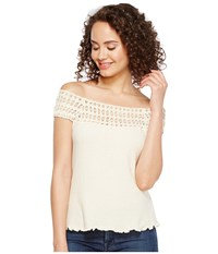 Scully Cantina Talia Organic Cotton Off The Shoulder Top Natural Women's Clothing Beige