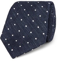 Canali 8Cm Polka Dot Cotton And Linen Blend Tie Navy