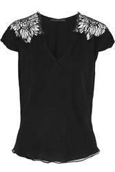 Maria Grachvogel Elune Layered Lace Trimmed Silk Georgette Top Black