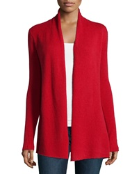 Neiman Marcus Cashmere Open Front Cardigan Red