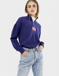 Daisy Street Relaxed Sweatshirt With Half Zip And Flag Embroidery Navy