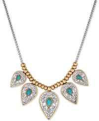 Lucky Brand Two Tone Blue Stone Statement Necklace Two Tone