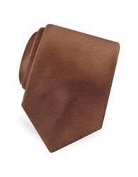 Forzieri Solid Pure Silk Satin Silk Tie Brown