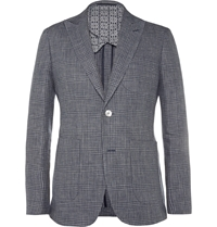 Hardy Amies Navy Prince Of Wales Check Linen And Wool Blend Blazer Blue