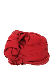 Superduper Grosgrain Turban With Knot Detail Red
