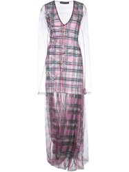 Y Project Check Print Layered Dress Pink