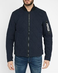 G Star Blue Batt Quilted Ribbed Denim Jacket