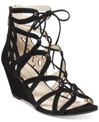 Kenneth Cole New York Women's Dylan Lace Up Wedge Sandals Women's Shoes Black