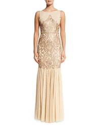 Badgley Mischka Sleeveless Beaded Gown With Tulle Skirt Champagne
