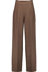 Agnona Bianca Silk Shantung Wide Leg Pants Brown
