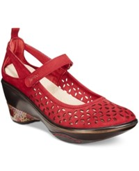Jambu Women's Calypso Mary Jane Wedges Women's Shoes Deep Red