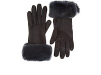 Barneys New York Fur Trimmed Nappa Leather Gloves Gray