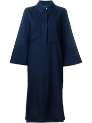 Odeeh Wide Sleeve Shirt Dress Blue
