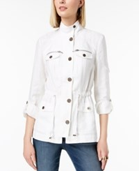 Inc International Concepts I.N.C. Linen Utility Jacket Created For Macy's Bright White