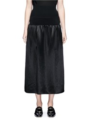 Ms Min Rib Knit Waist Satin Midi Skirt Black
