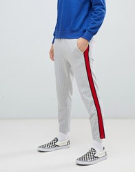 Bershka Striped Joggers In Grey With Red Side Stripe