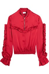 Magda Butrym Granada Ruffled Silk Satin Blouse Red