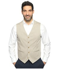 Perry Ellis Regular Fit Stretch Heather Twill Suit Vest Natural Linen Men's Vest Beige
