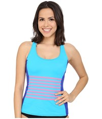 Dkny A Lister Racerback Tankini W Stripping Detail Removable Soft Cups Electric Women's Swimwear Blue