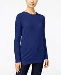 Jm Collection Crew Neck Button Cuff Sweater Only At Macy's Bright Sapphire