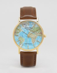 Reclaimed Vintage Classic Map Print Watch Brown