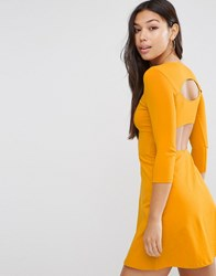 Asos Mini Skater Dress With Cut Out Back Mustard Yellow
