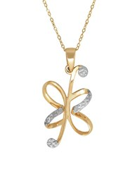 Lord And Taylor 14K Pdc Yellow Gold Rhodium Floral Pendant Necklace